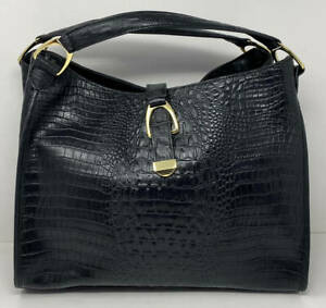 G.I.L.I. GILI Stirrup Leather Hobo Bag ~ Black