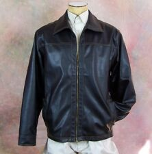 Point Zero Mens Lg Brown Faux Leather Jacket Coat Liner Elbow Patch Excellent