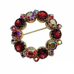 Vtg WEISS Aurora Borealis Red Flower Glass Rhinestone Floral Wreath Brooch