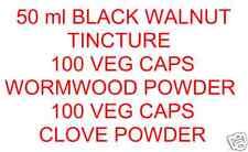 50ml BLACK Walnut + 100 Assenzio VERDURE. i tappi +100 Clove DR questo HULDA CLARK protocollo