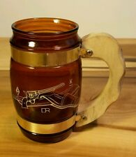Vintage Wood Handle Beer Cup Glass with Revolver Belt Holster Gun Cowboy Outlaw