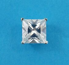 NEW Mens Single 5mm Square Simulated Diamond Stud Earring 925 Sterling Silver