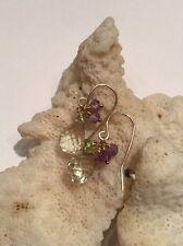 14k solid yellow gold Green Amethyst Briolette earrings