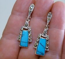 VINTAGE STYLE - Genuine Turquoise & Marcasite Huggie Drop Earrings Silver 925!.