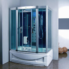 9001S Steam Shower Room Enclosure & tub with Hydro Massage Jets & LED Lights