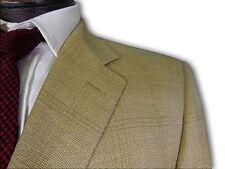 $2495 Ermenegildo Zegna Tan Tickweave w/ Brown windowpane Sport Coat 44L A128
