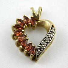 Vintage FAS Gold Over Sterling Garnet Pave Diamond Heart Pendant Enhancer 925