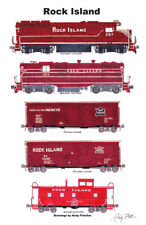 "Rock Island Maroon-era Freight Train 11""x17"" Poster by Andy Fletcher signed"