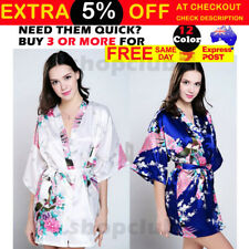FLORAL SATIN ROBE Kimono Dressing Gown Vintage Wedding Bridal Bridesmaid Party
