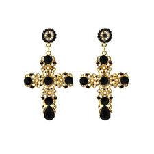 Women Vintage Baroque Style Crystal Luxury Gold Cross Large Long Dangle Earrings