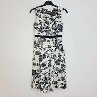 FEVER LONDON Midi Dress UK 6 White Black Floral Fit Flare