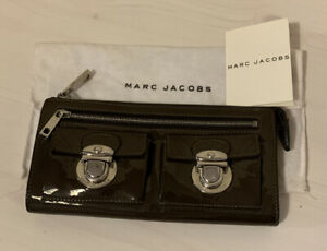 Marc Jacobs Two Front Pockets Brown Patent Leather Wallet
