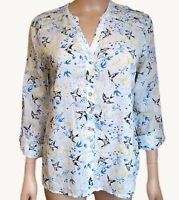 New Ex Per Una M&S Ladies Ivory Bird Print Casual Summer Tunic Top Size 10 -18