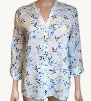 New Ex Per Una Ladies Ivory Bird Print Casual Summer Tunic Top Size 10 - 12