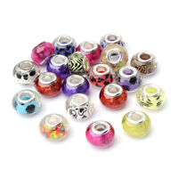 50pcs Colorful Acrylic European Beads Rondelle Large Hole Charms Findings 14mm