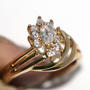 Gorgeous Flower Rings Gold Jewelry Ring Crystal CZ Ring for Womens Ladies Size 9