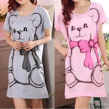 Women Nightdress Pajamas Nightgown Lingerie Short Sleeve Sleepwear Dress New GS