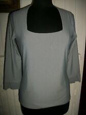 Top tee shirt blanc rayé bleu ANTONELLE Désira 40 polyamide stretch Manche 3/4