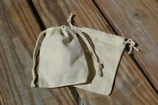 """2.75""""x4"""" Cotton Canvas Double Drawstring Muslin Bags (Natural Color)"""
