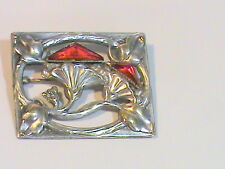 Vintage Repousse Flowered Square Brooch with Red Triangle Beveled glass
