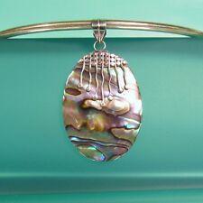 "1 1/4"" Abalone Paua Shell Tribal Design Handmade 925 Sterling Silver Pendant"
