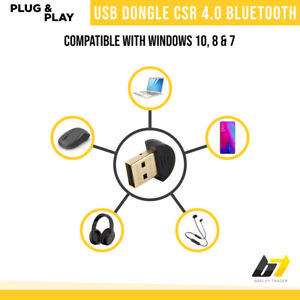 USB Bluetooth Adapter Mini V2.0 Dongle Wireless Audio Receiver For PC Laptop UK