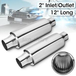 2pcs 2'' Inlet/Outlet 12'' Long Car Exhaust Turbine Muffler Resonator
