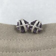 David Yurman Cable Wrap Earrings With Amethyst And Diamonds,10mm