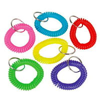 LOT OF 6 SPIRAL KEYCHAINS KEY CHAIN WRIST COIL CHAINS ELASTIC FAST SHIPPING