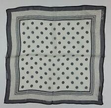 "ANN TAYLOR SCARF 100% Silk Black Polka Dots Beautiful 16.5""x17.5""  Japan"