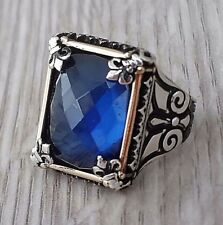 Turkish Ottoman Faceted Sapphire Gemstone Solid 925 Sterling Silver Men Ring 17g