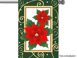 "CHRISTMAS HOLIDAY POINSETTIA GARDEN HOUSE/ BANNER FLAG 28""X40"" SLEEVED POLYESTER"