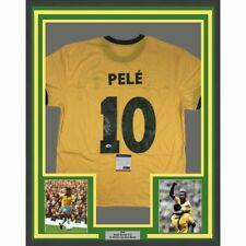 c98e3920e55c FRAMED Autographed/Signed PELE 33x42 Brazil Yellow Soccer Jersey PSA/DNA  COA #2