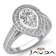 Ring Gia F Vs2 Platinum 2.75ct Halo Pave Set Pear Diamond Stunning Engagement