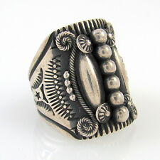 Large Navajo Handmade Stamped Sterling Silver Ring DELBERT GORDON Sz 11.5 | RS
