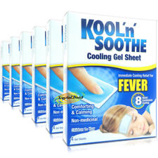 6x Kool 'n' Soothe Soft Gel Children Kids Fever Immediate  Relief 4 Sheets