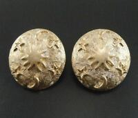 Earrings Clip On Golden Big Studs Oval Star Moon Engraving Retro J9