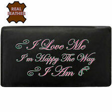 Klassek Real Leather Womans Purse I Love Me I am Happy The Way I Am Text speak