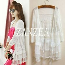 New Womens Fall Lace Crochet Floral Hollow Out Jacket Coat Cardigan Tops Blouses