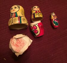 3 Piece Hand Painted Nesting Dolls with Original Stamp