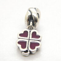 New Four-leaf Luck Clover With purple Enamel 925 Sterling silver Dangle charms