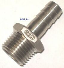 "HOSE BARB for 1/4"" ID HOSE X 1/2"" MALE NPT HEX BREWING 316 STAINLESS <HB602"