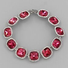 Rhodium Plated Fuchsia Crystal Rhinestone Wedding Tennis Cuff Bracelet 03719 New