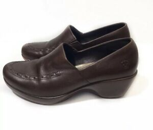 Ariat 7.5 Brown Leather Clog Slip On Apron Toe 21161 $110