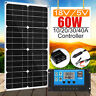 60W 18V Dual USB Solar Panel Battery Charger + 10/20/30/40A PWM Solar Controller