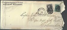 1870's Army Official Cover with Scott No. 165 30 Cent Value