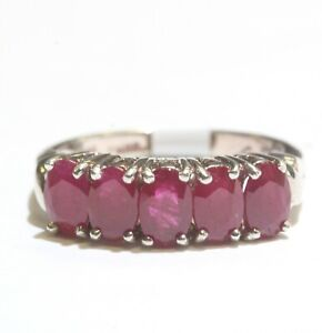 925 Sterling Silver natural oval ruby gemstone band ring 3.3g womens size 6.75