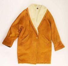 VINTAGE EXPRESS Orange Brown Suede Leather Coat Jacket Faux Fur Lined - Men's M