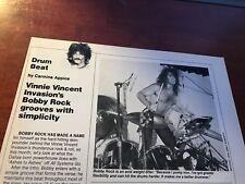 1988 Vintage 1Pg Print Article Drum Beat With Bobby Rock Vinnie Vincent Invasion