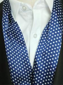 100% Silk Mulberry satin Scarf men neckerchief muffler Wrap dot navy blue MN2-10
